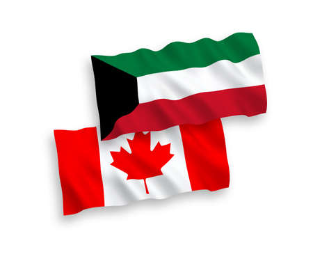 National vector fabric wave flags of Canada and Kuwait isolated on white background. 1 to 2 proportion.