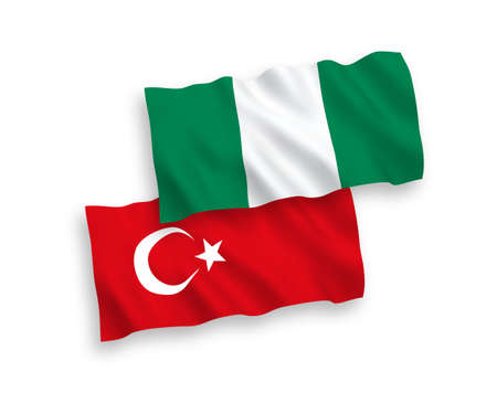 National vector fabric wave flags of Turkey and Nigeria isolated on white background. 1 to 2 proportion.