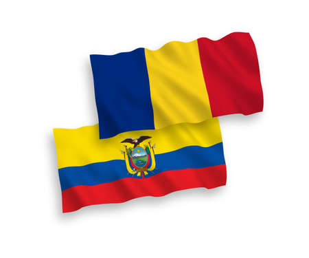 National vector fabric wave flags of Romania and Ecuador isolated on white background. 1 to 2 proportion.