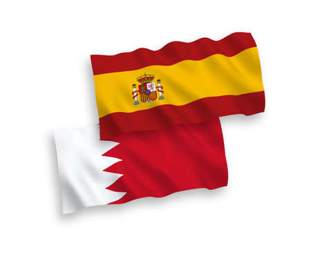 National vector fabric wave flags of Bahrain and Spain isolated on white background. 1 to 2 proportion. Vecteurs