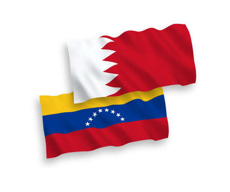 National vector fabric wave flags of Venezuela and Bahrain isolated on white background. 1 to 2 proportion. Illustration