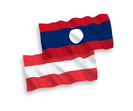 National vector fabric wave flags of Austria and Laos isolated on white background. 1 to 2 proportion.
