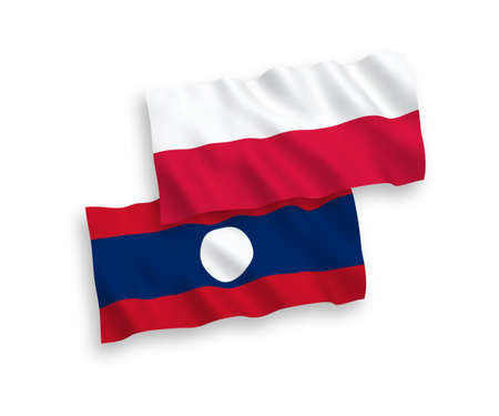 National vector fabric wave flags of Laos and Poland isolated on white background. 1 to 2 proportion.