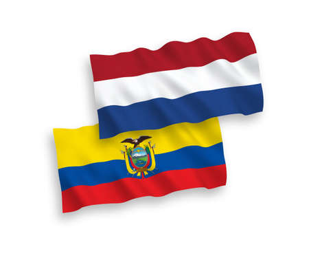 National vector fabric wave flags of Ecuador and Netherlands isolated on white background. 1 to 2 proportion.