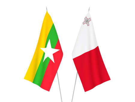National fabric flags of Myanmar and Malta isolated on white background. 3d rendering illustration.