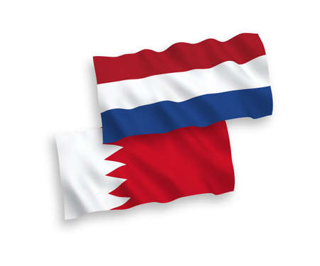 National vector fabric wave flags of Bahrain and Netherlands isolated on white background. 1 to 2 proportion. Vecteurs