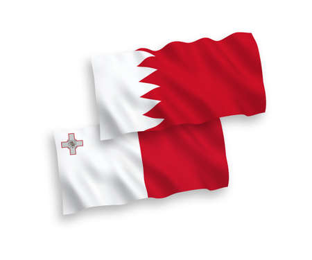 National vector fabric wave flags of Malta and Bahrain isolated on white background. 1 to 2 proportion.