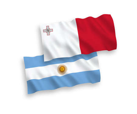 National vector fabric wave flags of Malta and Argentina isolated on white background. 1 to 2 proportion. 일러스트