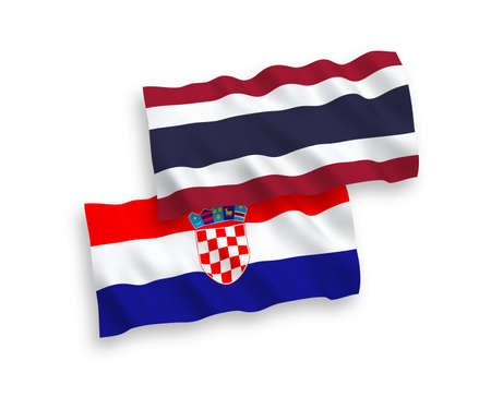 National vector fabric wave flags of Thailand and Croatia isolated on white background. 1 to 2 proportion. Ilustração