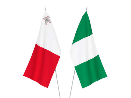 National fabric flags of Nigeria and Malta isolated on white background. 3d rendering illustration.