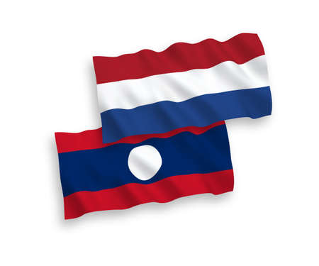 National vector fabric wave flags of Laos and Netherlands isolated on white background. 1 to 2 proportion.