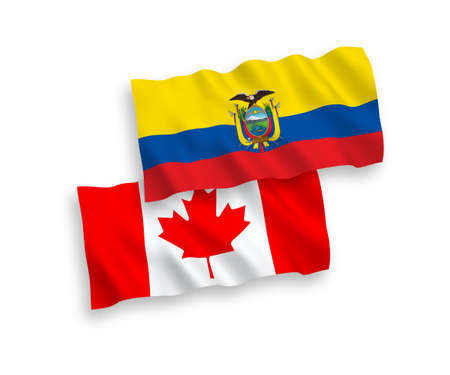 National vector fabric wave flags of Canada and Ecuador isolated on white background. 1 to 2 proportion.
