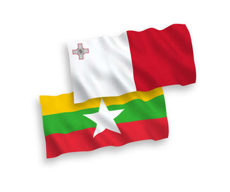 National vector fabric wave flags of Malta and Myanmar isolated on white background. 1 to 2 proportion.