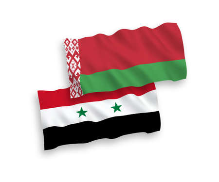 National vector fabric wave flags of Belarus and Syria isolated on white background. 1 to 2 proportion.