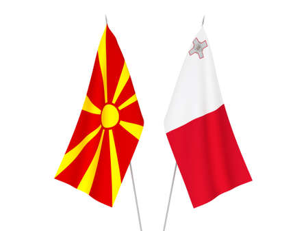 National fabric flags of North Macedonia and Malta isolated on white background. 3d rendering illustration. 스톡 콘텐츠
