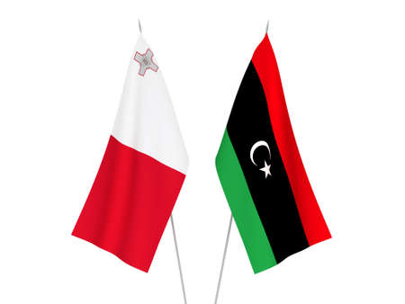 National fabric flags of Libya and Malta isolated on white background. 3d rendering illustration.