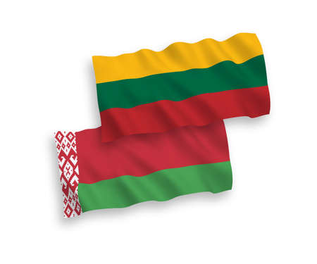 National vector fabric wave flags of Lithuania and Belarus isolated on white background. 1 to 2 proportion.