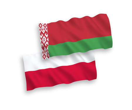 National vector fabric wave flags of Belarus and Poland isolated on white background. 1 to 2 proportion. Ilustração