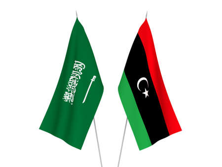 National fabric flags of Saudi Arabia and Libya isolated on white background. 3d rendering illustration.
