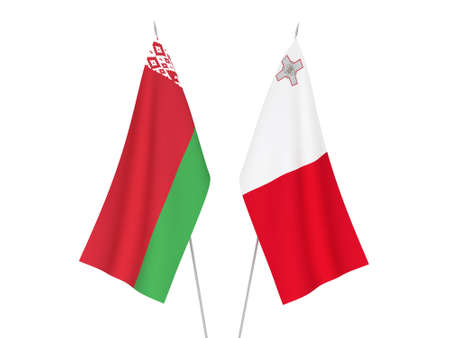 National fabric flags of Belarus and Malta isolated on white background. 3d rendering illustration.