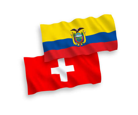 National vector fabric wave flags of Ecuador and Switzerland isolated on white background. 1 to 2 proportion.