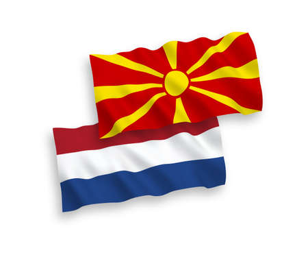 National vector fabric wave flags of North Macedonia and Netherlands isolated on white background. 1 to 2 proportion.