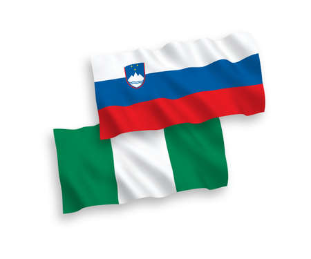 National vector fabric wave flags of Slovenia and Nigeria isolated on white background. 1 to 2 proportion.