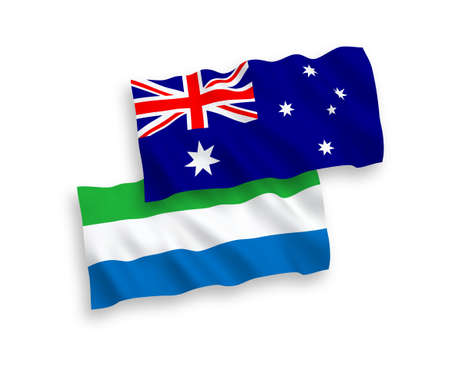 National vector fabric wave flags of Australia and Sierra Leone isolated on white background. 1 to 2 proportion.