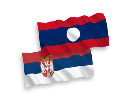 National vector fabric wave flags of Laos and Serbia isolated on white background. 1 to 2 proportion.