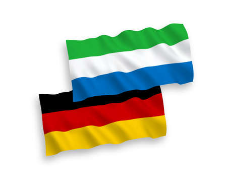 National vector fabric wave flags of Germany and Sierra Leone isolated on white background. 1 to 2 proportion.