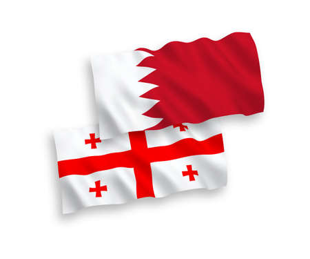 National vector fabric wave flags of Bahrain and Georgia isolated on white background. 1 to 2 proportion. Vecteurs