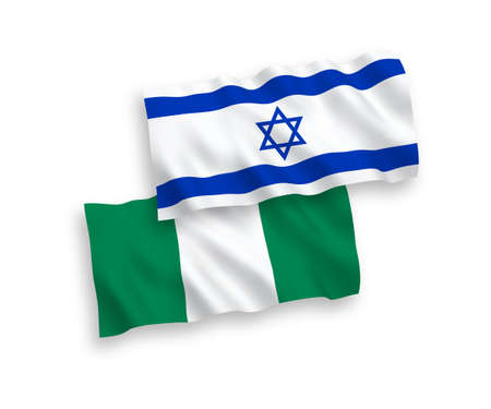 National vector fabric wave flags of Nigeria and Israel isolated on white background. 1 to 2 proportion.