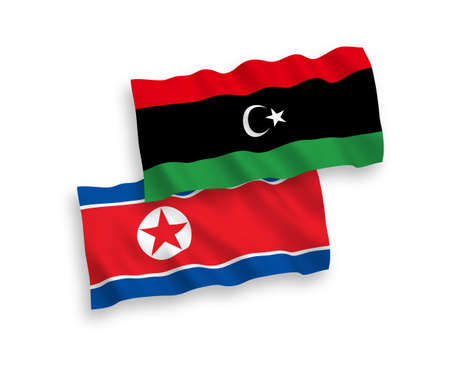 National vector fabric wave flags of North Korea and Libya isolated on white background. 1 to 2 proportion.
