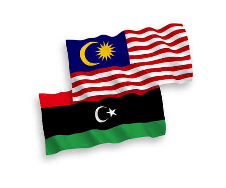 National vector fabric wave flags of Libya and Malaysia isolated on white background. 1 to 2 proportion. Векторная Иллюстрация