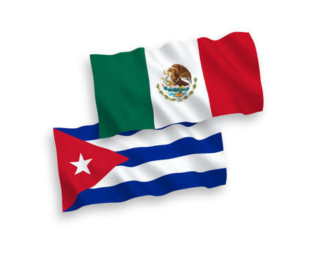 National vector fabric wave flags of Mexico and Cuba isolated on white background. 1 to 2 proportion. Векторная Иллюстрация
