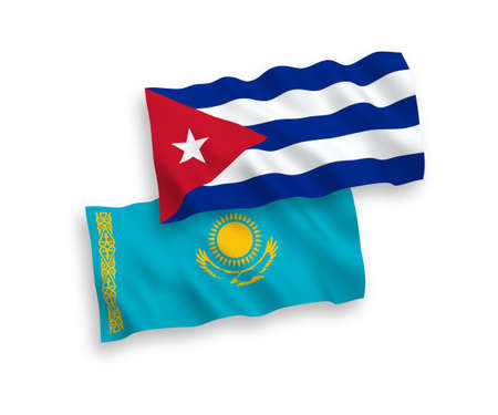 National vector fabric wave flags of Kazakhstan and Cuba isolated on white background. 1 to 2 proportion.