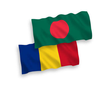 National vector fabric wave flags of Romania and Bangladesh isolated on white background. 1 to 2 proportion.
