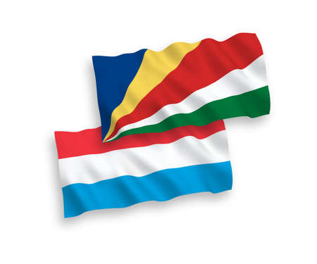 National vector fabric wave flags of Seychelles and Luxembourg isolated on white background. 1 to 2 proportion.
