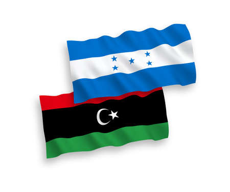 National vector fabric wave flags of Libya and Honduras isolated on white background. 1 to 2 proportion.