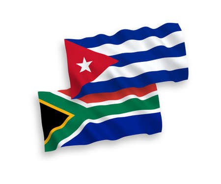 National vector fabric wave flags of Cuba and Republic of South Africa isolated on white background. 1 to 2 proportion.