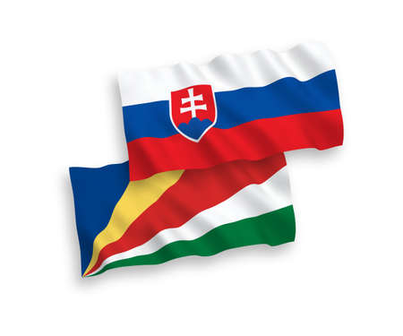 National vector fabric wave flags of Slovakia and Seychelles isolated on white background. 1 to 2 proportion.