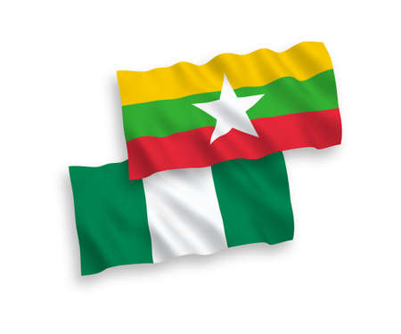 National vector fabric wave flags of Nigeria and Myanmar isolated on white background. 1 to 2 proportion.