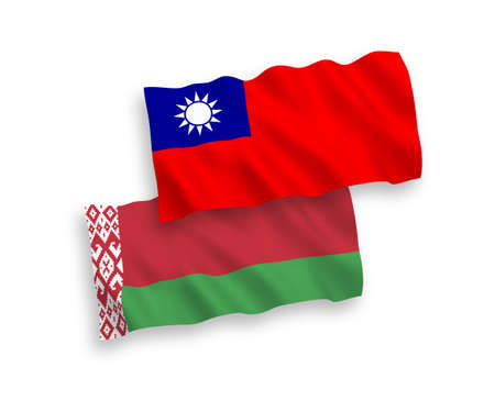 National vector fabric wave flags of Belarus and Taiwan isolated on white background. 1 to 2 proportion.