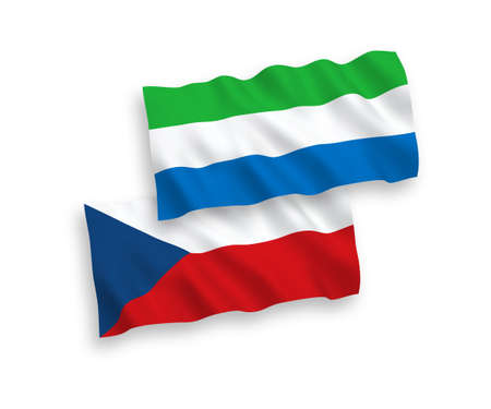 National vector fabric wave flags of Czech Republic and Sierra Leone isolated on white background. 1 to 2 proportion.