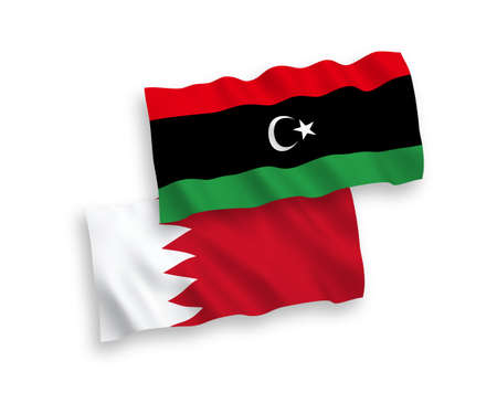 National vector fabric wave flags of Libya and Bahrain isolated on white background. 1 to 2 proportion.