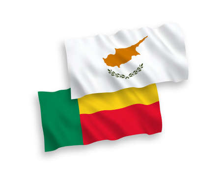 National vector fabric wave flags of Cyprus and Benin isolated on white background. 1 to 2 proportion.