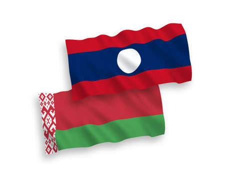 National vector fabric wave flags of Belarus and Laos isolated on white background. 1 to 2 proportion.