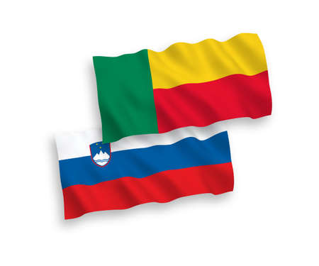 National vector fabric wave flags of Slovenia and Benin isolated on white background. 1 to 2 proportion. Ilustração