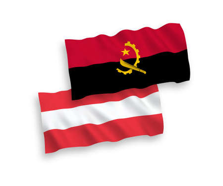 National vector fabric wave flags of Austria and Angola isolated on white background. 1 to 2 proportion.