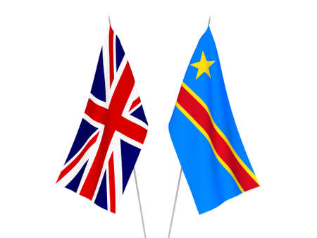 National fabric flags of Great Britain and Democratic Republic of the Congo isolated on white background. 3d rendering illustration.